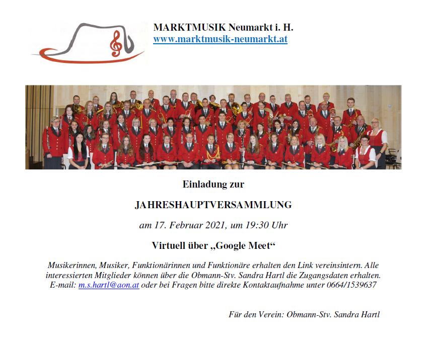 Einladung zur Jahreshautpversammlung